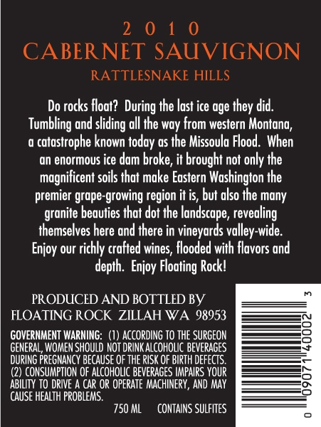 2010 Floating Rock Cabernet Back